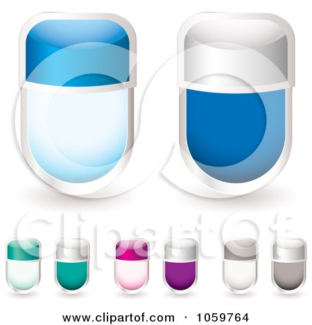 Royalty-Free Vector Clip Art Illustration of a Digital Collage Of Blank Glass Tags by michaeltravers