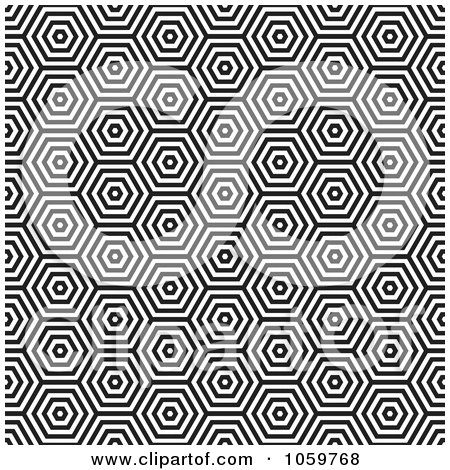 Royalty-Free Vector Clip Art Illustration of a Seamless Black And White Hexagon Pattern Background by michaeltravers