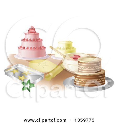 Royalty-Free Vector Clip Art Illustration of a Counter Top With Cakes And Cookies by AtStockIllustration