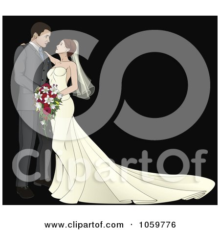 Royalty-Free Vector Clip Art Illustration of a Bride And Groom Gazing At Each Other Over Black by AtStockIllustration
