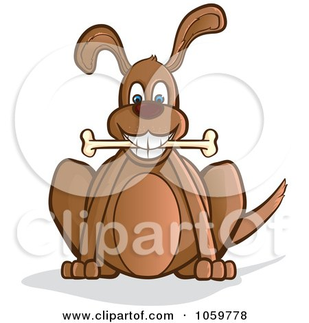 Royalty-Free Vector Clip Art Illustration of a Happy Brown Dog Sitting With A Bone by Paulo Resende