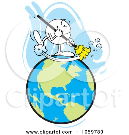 Royalty-Free Vector Clip Art Illustration of a Happy Moodie Character Sweeping The Earth by Johnny Sajem