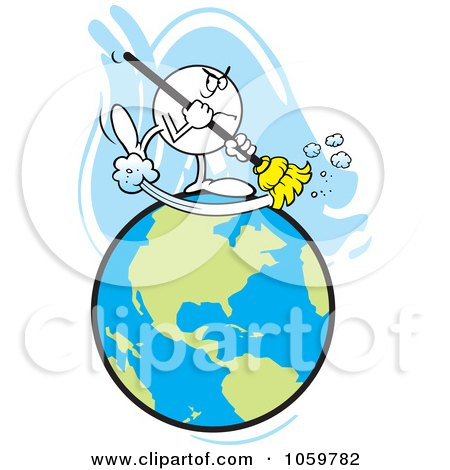 Royalty-Free Vector Clip Art Illustration of a Mad Moodie Character Sweeping The Earth by Johnny Sajem