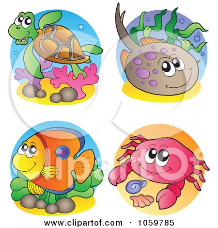 Royalty-Free Vector Clip Art Illustration of a Digital Collage Of Sea Life Logos by visekart