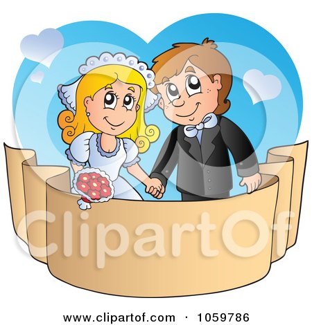 Royalty-Free Vector Clip Art Illustration of a Wedding Couple Holding Hands Over A Banner by visekart