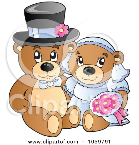 Royalty-Free Vector Clip Art Illustration of a Teddy Bear Wedding Couple by visekart
