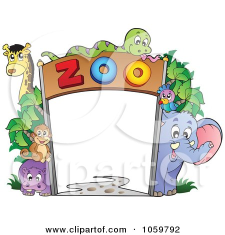 Framed  Prints on Royalty Free Vector Clip Art Illustration Of A Frame Of Zoo Animals By