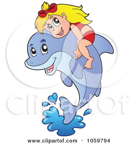 Royalty-Free Vector Clip Art Illustration of a Girl On A Leaping Dolphin by visekart