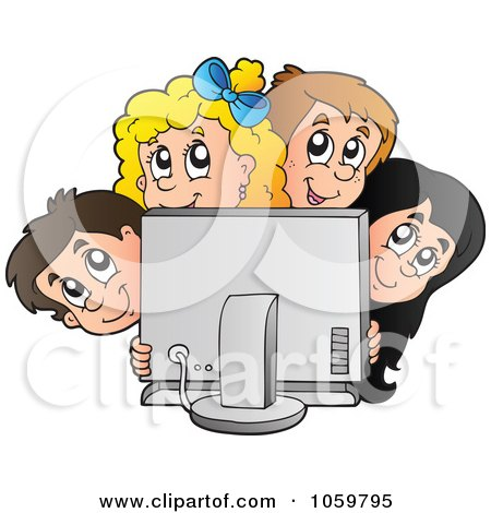 Royalty-Free Vector Clip Art Illustration of a Group Of Kids Looking Around A Computer Screen by visekart