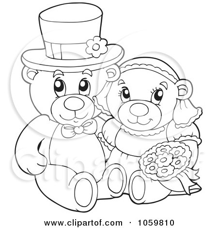 Royalty-Free Vector Clip Art Illustration of a Coloring Page Outline Of A Teddy Bear Wedding Couple by visekart
