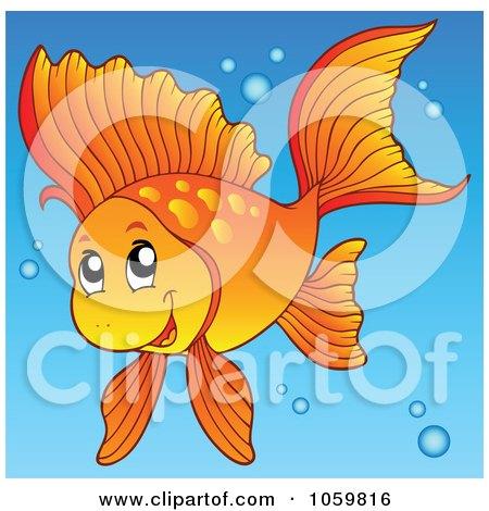 happy goldfish cartoon. a Happy Goldfish In Blue