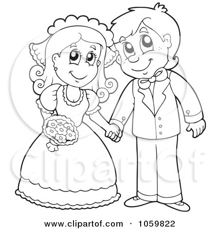 Coloring Page Outline Of A Wedding Couple Holding Hands