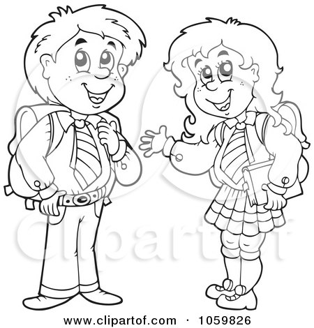 Art illustration of a coloring page outline of school kids by visekart