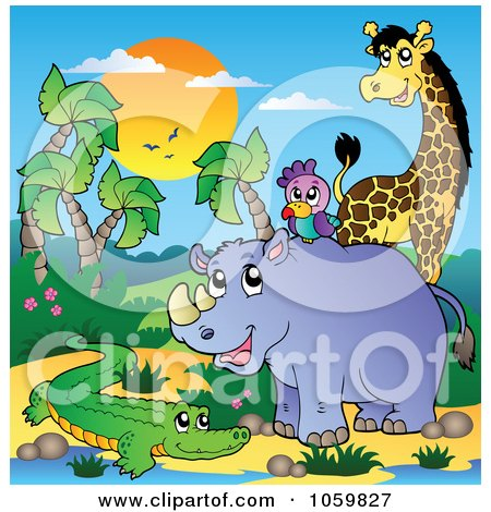 Royalty-Free Vector Clip Art Illustration of African Animals By A Water Hole - 5 by visekart