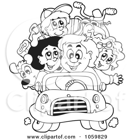 Coloring Page Outline Of A Family On Road Trip