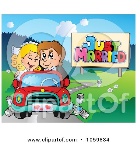 Royalty-Free Vector Clip Art Illustration of a Wedding Couple Driving In A Car by visekart