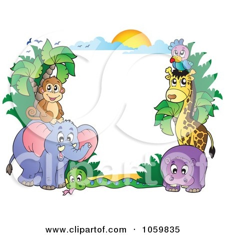 Royalty-Free Vector Clip Art Illustration of a Frame Of Animals Under A Sunset - 1 by visekart