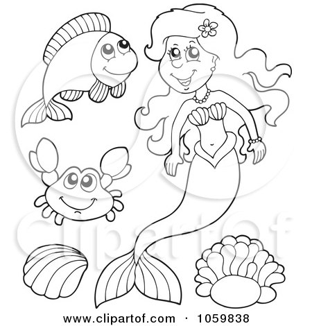 Clipart Of A Happy Caucasian Female Mermaid Waving By A