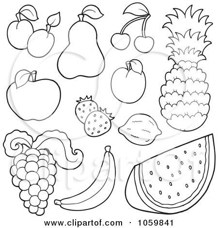 Royalty-Free Vector Clip Art Illustration of a Digital Collage Of Outlined Fruit by visekart