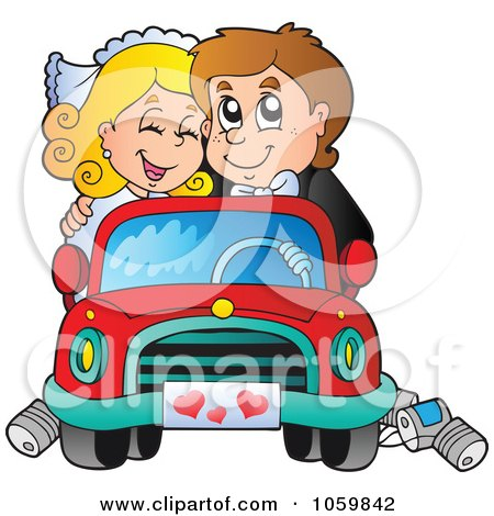 Royalty-Free Vector Clip Art Illustration of a Wedding Couple Driving Away In A Car by visekart