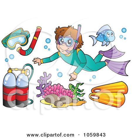 Royalty-Free Vector Clip Art Illustration of a Digital Collage Of Snorkel And Scuba Items by visekart