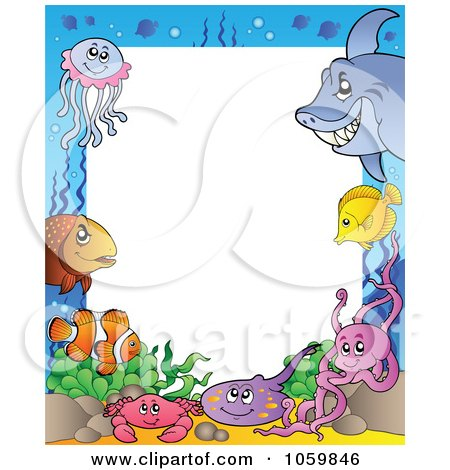 Royalty-Free Vector Clip Art Illustration of a Sea Life Frame Around White Space. by visekart