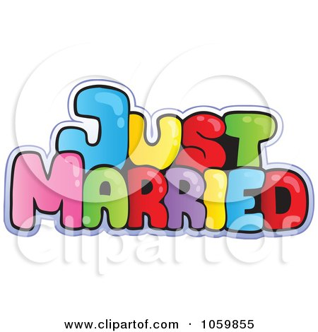 Royalty-Free Vector Clip Art Illustration of Colorful Just Married Text by visekart