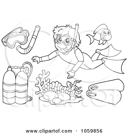 royalty free vector clip art illustration of a digital collage of coloring page outlines of scuba and snorkel gear by visekart