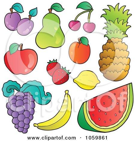 Royalty-Free Vector Clip Art Illustration of a Digital Collage Of Fruit by visekart