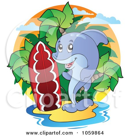 Royalty-Free Vector Clip Art Illustration of a Dolphin On A Tropical Island With A Surfboard by visekart