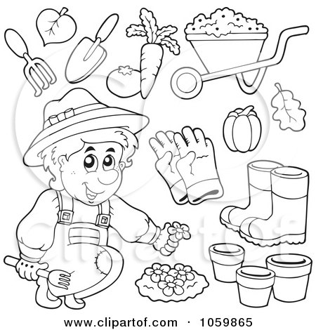 Clipart Outlined Happy Gardener Watering His Plants ...
