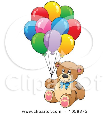 Royalty-Free Vector Clip Art Illustration of a Teddy Bear With Balloons by visekart