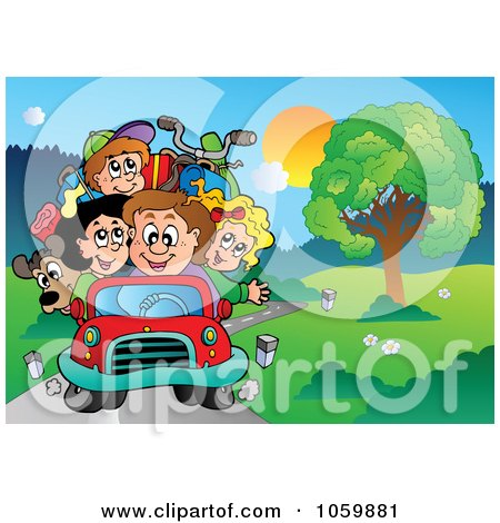 Royalty-Free Vector Clip Art Illustration of a Family Driving Down A Country Road by visekart