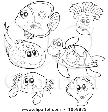 Ocean Coloring Pages on Digital Collage Of Coloring Page Outlines Of Sea Animals