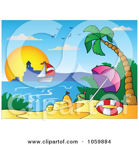 Royalty-Free Vector Clip Art Illustration of a Tropical Beach With A Sand Castle, Sailboat And Lighthouse by visekart