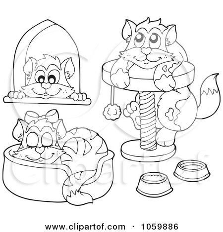 Royalty free pussy cat illustrations by visekart page 1 for Pussy coloring pages