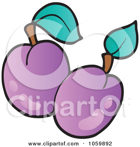 Royalty-Free Vector Clip Art Illustration of Two Plums by visekart