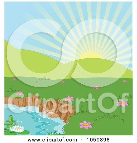Royalty-Free Vector Clip Art Illustration of a Spring Time Landscape Background With Hills And A Pond by Pushkin