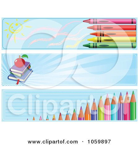 Royalty-Free Vector Clip Art Illustration of a Digital Collage Of Crayon, Book And Colored Pencil School Website Banners by Pushkin