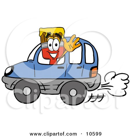 Clipart Picture of a Paint Brush Mascot Cartoon Character Driving a Blue Car and Waving by Toons4Biz