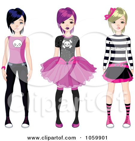 Royalty-Free Vector Clip Art Illustration of a Digital Collage Of Three Teen Punk Girls by Pushkin