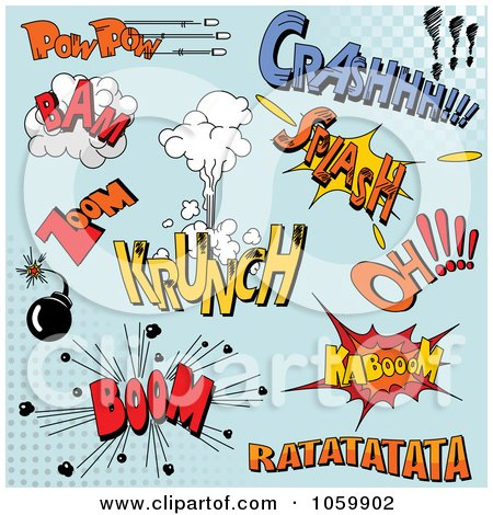 Royalty-Free Vector Clip Art Illustration of a Digital Collage Of Comic Sounds On Blue by Pushkin