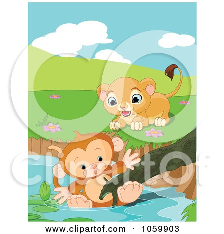 Royalty-Free Vector Clip Art Illustration of a Cute Lion Rushing To Save A Drowning Monkey In A Pond by Pushkin