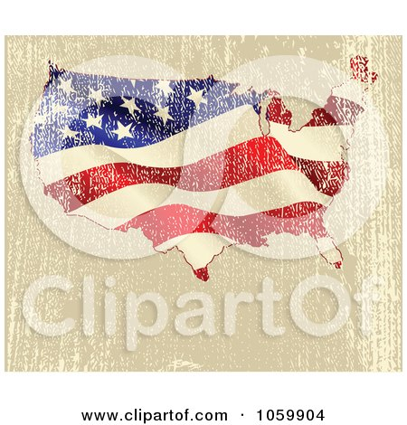 Royalty-Free Vector Clip Art Illustration of a Grungy American Map Background by Pushkin