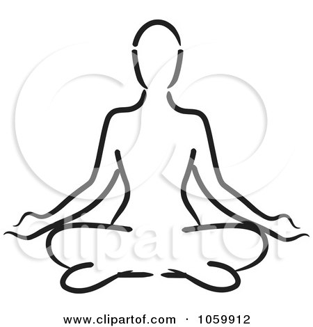 Royalty-Free Vector Clip Art Illustration of an Outlined Woman Meditating by Rosie Piter