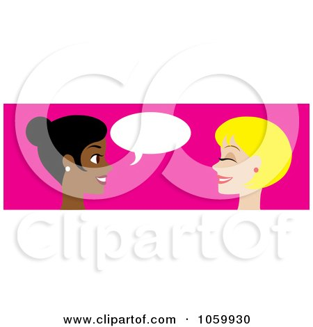 Royalty-Free Vector Clip Art Illustration of a Banner Of Two Women Talking by Rosie Piter