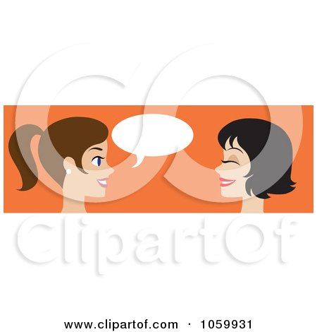 Royalty-Free Vector Clip Art Illustration of a Banner Of Two Caucasian Women Talking by Rosie Piter