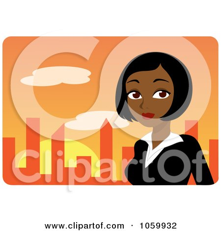 Royalty-Free Vector Clip Art Illustration of a Black Businesswoman Against An Orange Skyline by Rosie Piter