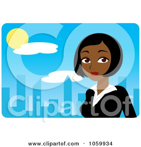 Royalty-Free Vector Clip Art Illustration of a Black Businesswoman Against A Blue Skyline by Rosie Piter