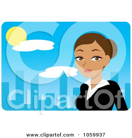 Royalty-Free Vector Clip Art Illustration of a Hispanic Urban Businesswoman Against A Blue Skyline by Rosie Piter
